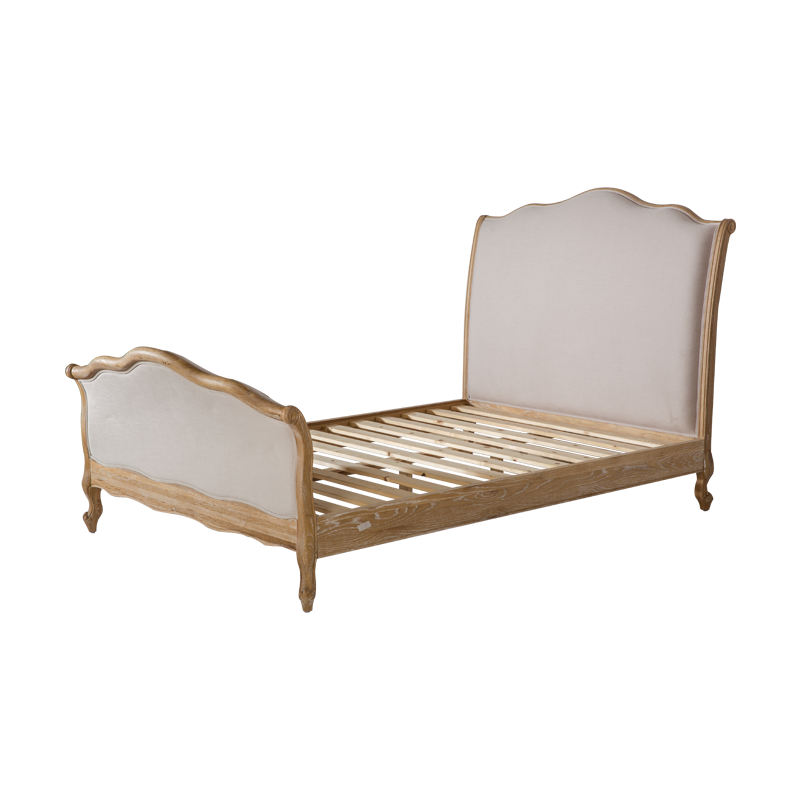 VZB0004,VZB0005,VZB0006 French Style Oak Upholstered Curved Bed