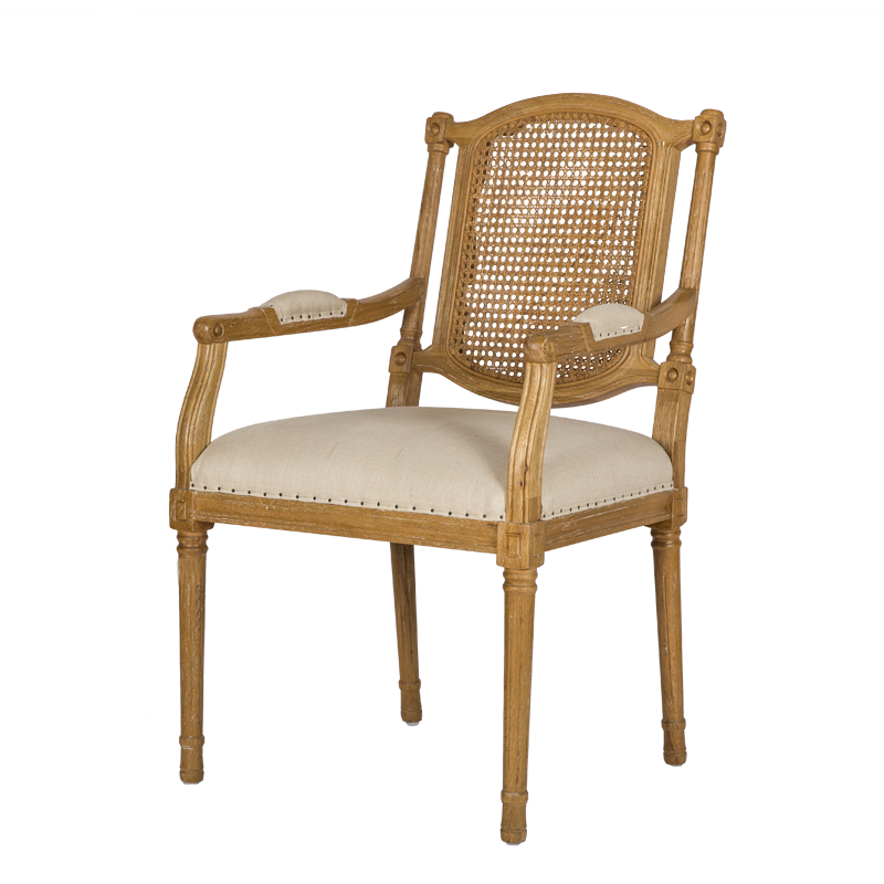 French Country Style Cane Back Dining Armchair