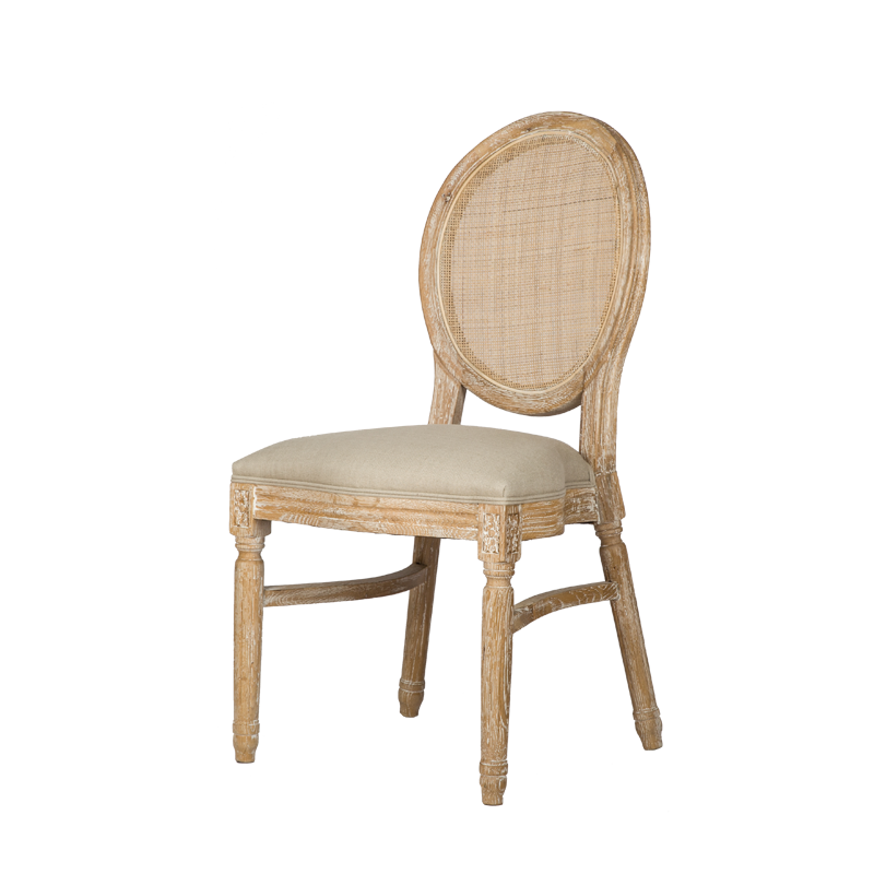VZC0119 Louis Cane Stackable Upholstered Dining Chair